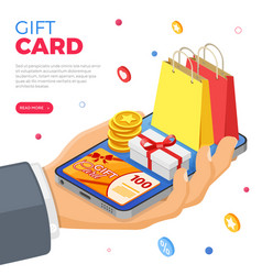 Gift card customer loyalty programs banner vector