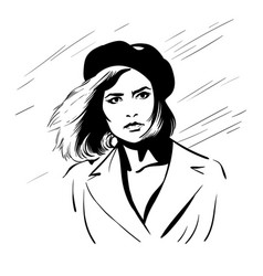 girl with berret hat black and white vector image