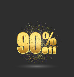 gold sale 90 percent golden sale 90 percent on vector image