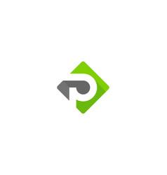 green letter p logo icon design vector image