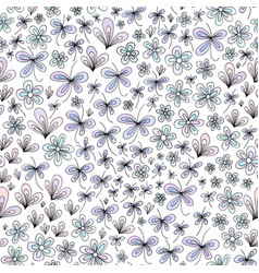 hand drawn abstract nature floral pattern vector image