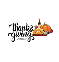 Hand drawn thanksgiving dinner typography poster vector