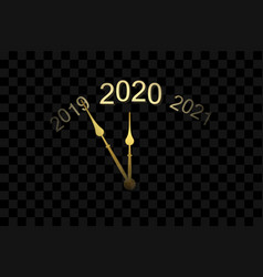 happy new year 2020 gold clock arrows isolated vector image