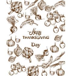Happy thanksgiving day card autumn fall veggies vector