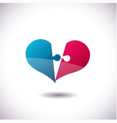 heart puzzle icon st valentines day concept vector image