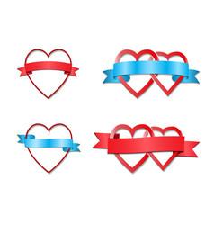 hearts tied by ribbon vector image