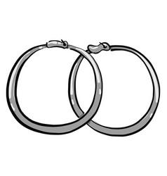 Hoop earrings on white background vector