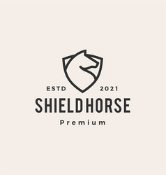 horse shield hipster vintage logo icon vector image