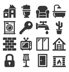 house icons set on white background vector image
