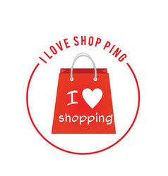 I Love Shopping Red Back Circle Frame Background V