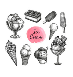 Ink sketch collection ice cream vector