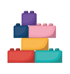 Isolated lego pieces toy design vector