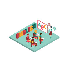 Isometric interior of english class vector