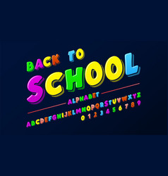 latin alphabet - badge back to school trend font vector image