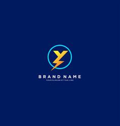 Letter y flash electrical logo design vector