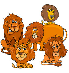 Lions cartoon animal characters group vector