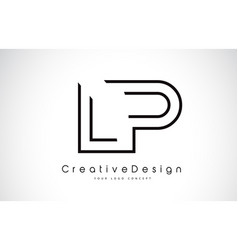 Lp l p letter logo design in black colors vector