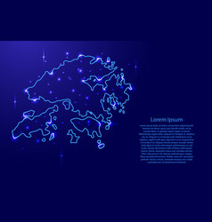 Map hong kong from the contours network blue vector