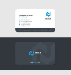 Matte business card with blue letter n vector