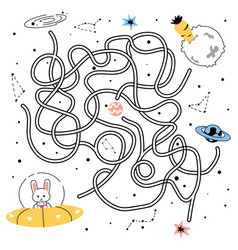 maze game doodle tangled path rabbit flying in vector image
