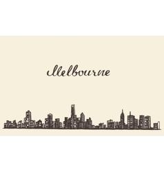 Melbourne skyline engraved drawn sketch vector