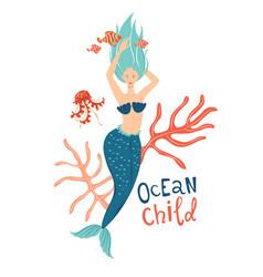 mermaid wimming in sea ocean child lettering vector image