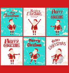 merry christmas santa claus having fun outdoors vector image