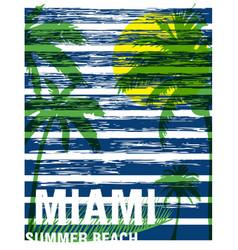 Miami summer tee graphic design vector