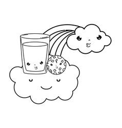 milk glass with rainbow kawaii vector image