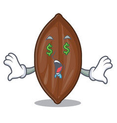 Money eye fresh pecan nuts isolated on mascot vector
