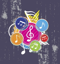 music on grunge background vector image