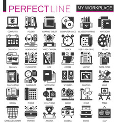 my workspace workspace black mini concept icons vector image