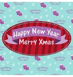 New Year and Christmas greeting card with a sock vector image