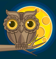 owl sitting on branch at night vector image
