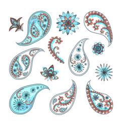 paisley oriental floral set vector image