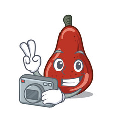 Photographer red pears isolated in mascot vector