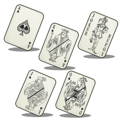 Playing cards jack queen king ace and joker vector