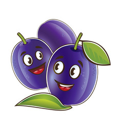plum cute characters set in cartoon style vector image
