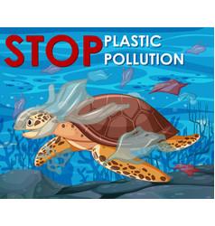 poster design with sea turtle in ocean vector image