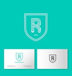 R letter monogram web business card vector