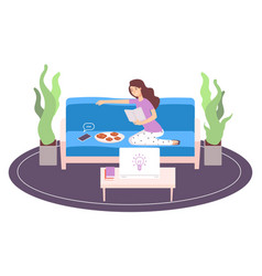 relaxing woman girl reading book procrastination vector image
