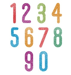 Retro style geometric rounded numbers set with vector