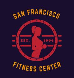 Round vintage emblem logo gym t-shirt print vector