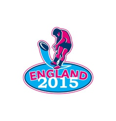 Rugby Player Kicking Ball England 2015 Retro vector image