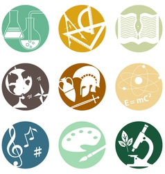 School subjects icons vector