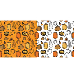 seamless halloween pattern with hand drawn vector image