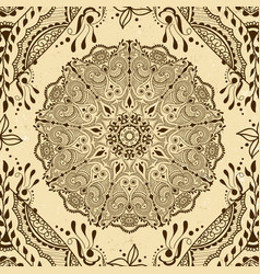 Seamless texture with floral mandala vector
