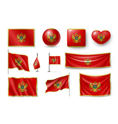 set montenegro flags banners banners symbols vector image