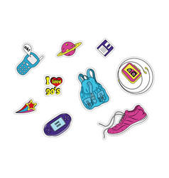 set of patches with fashion badges retro style vector image