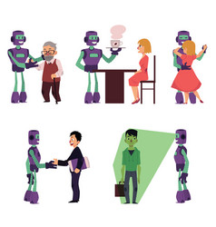 set of robot assistants helping people vector image